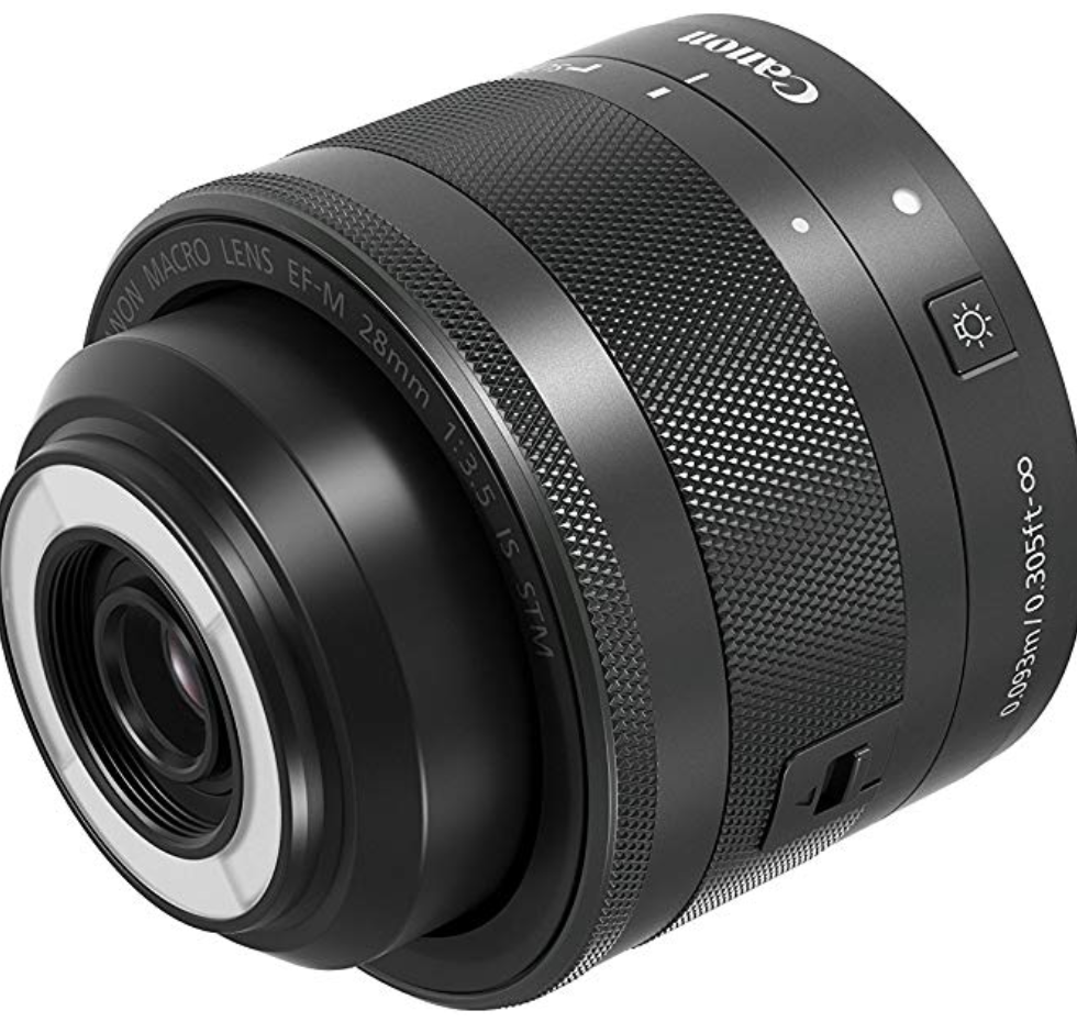 Canon EF-M 28mm f/3.5 Macro IS STM Lens, Black - 1362C005